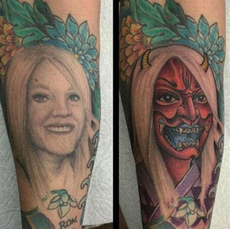 divorced man covers a tattoo of his ex wife s face by