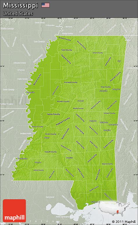 physical map of mississippi free physical map of mississippi lighten semi desaturated