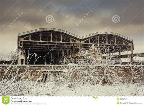 Landscape Warehouse Landscape With Abandoned Warehouse In Winter Royalty Free