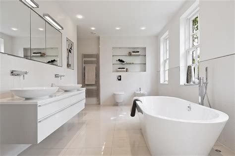 modern white bathroom contemporary white freestanding bath design ideas photos