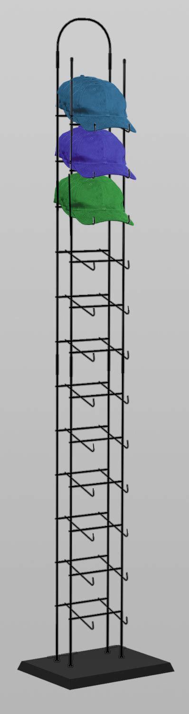 black 12 tier tower hat rack