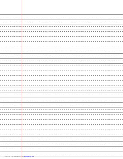 Printable Wide Ruled Paper With Dotted Lines | wide ruled lined paper with dashed center guide line