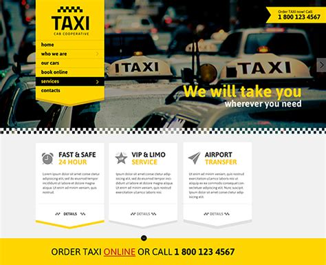 Taxi Service Responsive Bootstrap Template Gridgum Taxi Website Template