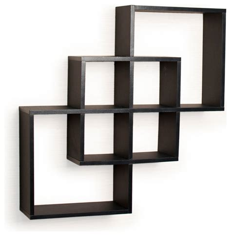wall book shelves intersecting squares decorative wall shelf black