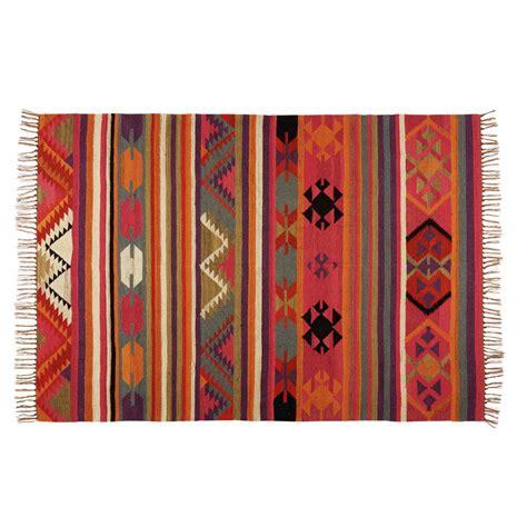teppiche ethno teppich mit ethno muster aus bunter wolle 140x200cm kilima