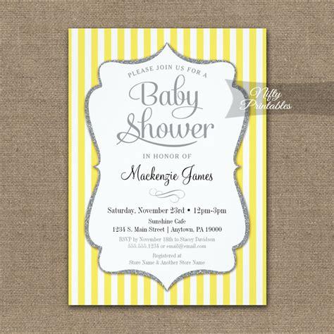 Yellow Baby Shower Invitations by Yellow Gray Baby Shower Invitation Stripe Printed