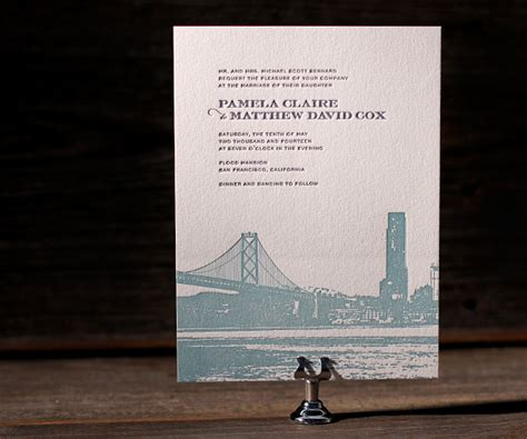 Wedding Invitations San Francisco by Letterpress Wedding Invitations Charmed San Francisco