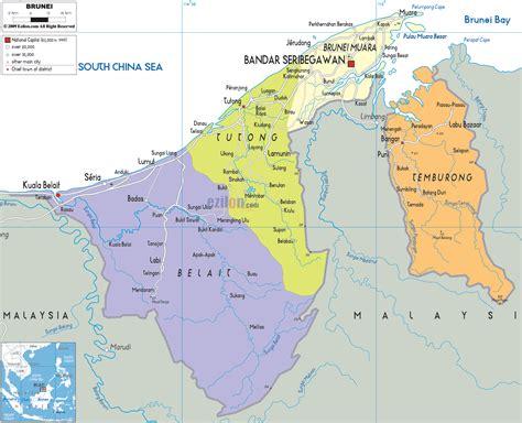 brunei map political map of brunei ezilon maps