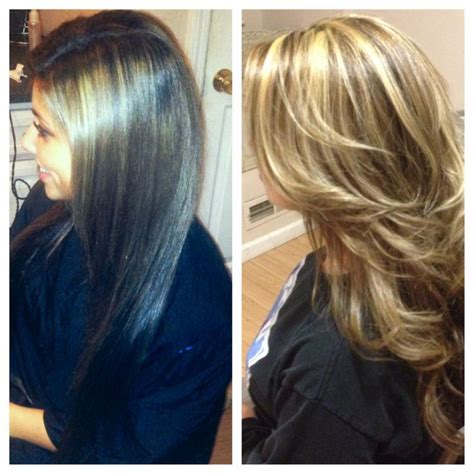 salon ct specialize in hair color before after of a full highlight brunette to blonde in
