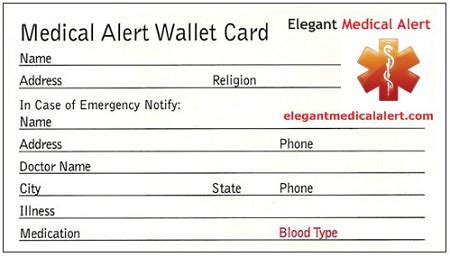 Free Medical Id Wallet Card Printable Child Id Card Template