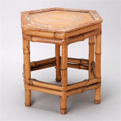small bamboo table vintage bamboo hexagonal small table or plant stand
