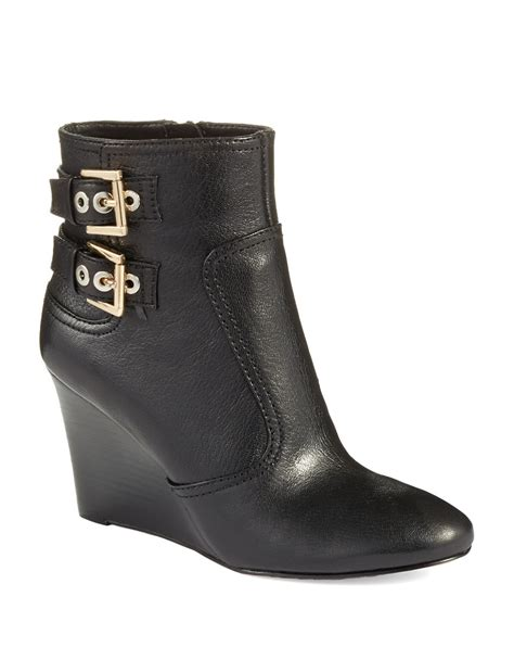 nine west herbert wedge boots in black lyst