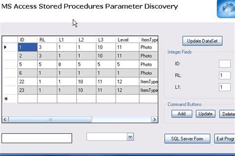 command pattern xml parameter discovery on microsoft access with xml option