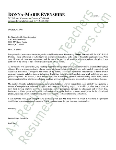 cover letter sles for teaching elementary cover letter
