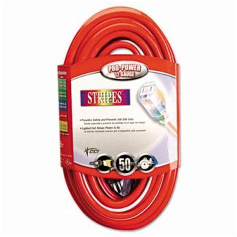 cci stripes extension cord 12 3 awg 50ft coc025488841