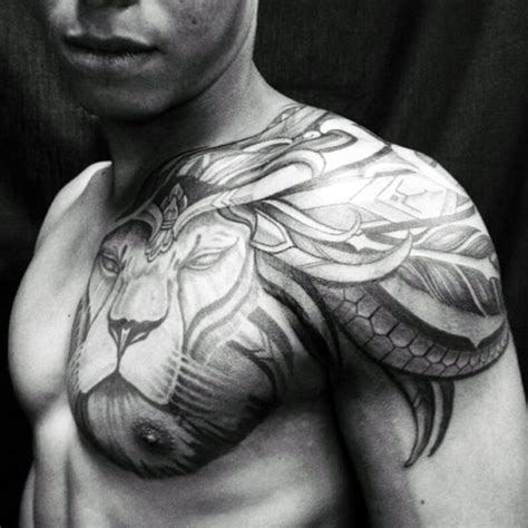 tribal tattoo on chest and shoulder 70 chest designs for fierce animal ink ideas