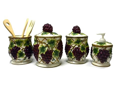 4 piece ceramic grapes vines vineyard canister kitchen decor set ebay