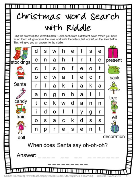 free printable christmas word games puzzles fun games 4 learning december 2013