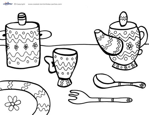 teaparty free colouring pages