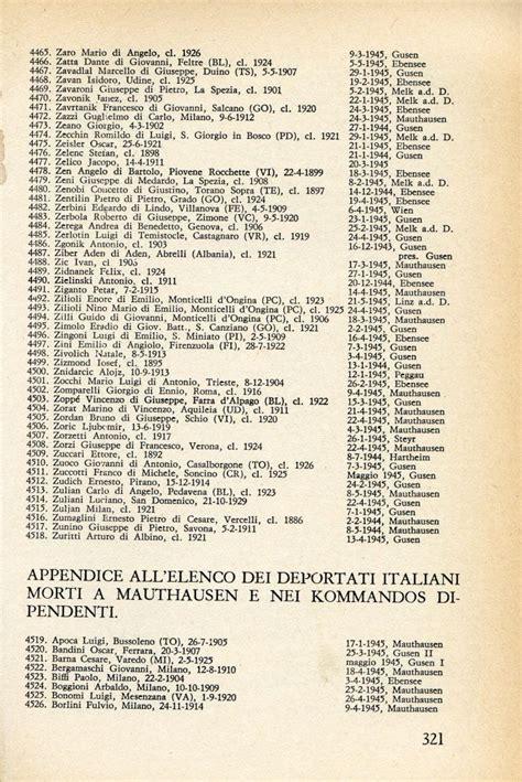 tu passerai per il camino elenco dei deportati italiani morti a mauthausen elenco