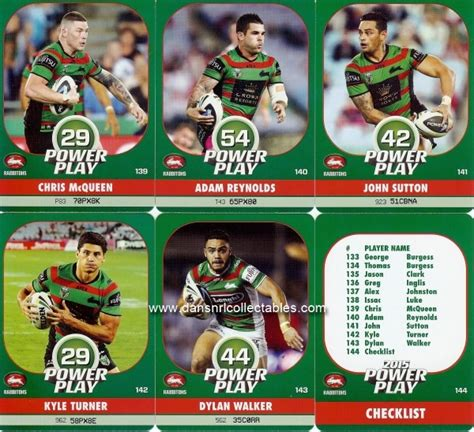 Card Power Plays 2015 power play nrl cards souths team set 23225