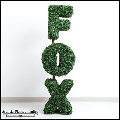 topiary letters 3 h x 6in w custom logo or letter boxwood topiary shape
