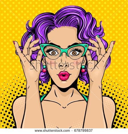 imagenes de up art wow pop art female face closeup stock vector 678799837