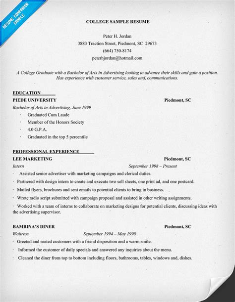 Resume Sles For Be College Students Exle Resume Exle Resume Of College Student