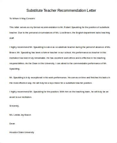 Introduction Letter Term Substitute recommendation letter for substitute teaching docoments