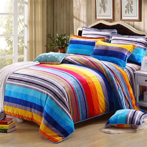 Fleece Bed Sets 2017 Multicolor Stripes Thick Fleece Bedding Set