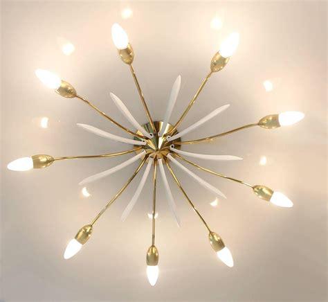 Sunburst Chandelier Sunburst Sputnik Chandelier Flush Mount Light Brass Ceiling Fixture For Sale At 1stdibs