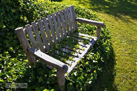 covered garden bench garden cheat the ivy covered garden bench funky junk