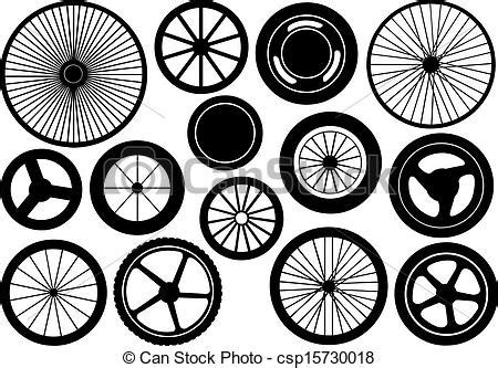 set   wheels isolated  white vector clip art