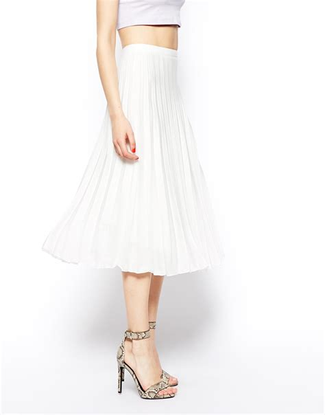 asos pleated midi skirt in white lyst