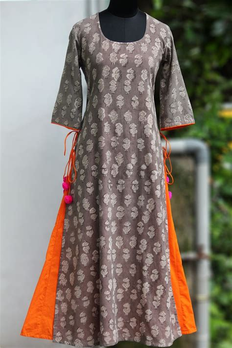 pattern design dress layered long kurta grey the orange pop maati crafts