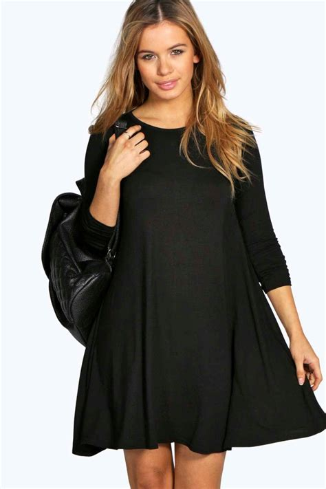 long swing dress boohoo womens petite april scoop neck long sleeve swing