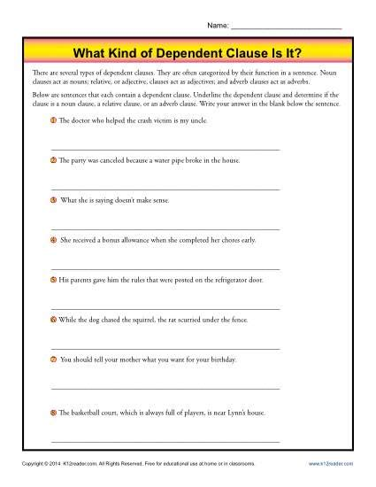 Identifying Clauses Worksheet by What Of Dependent Clause Is It Grammar Worksheets