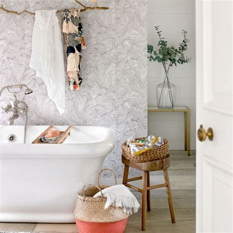 wallpaper suitable for bathrooms uk pastel country bathroom with marbled wallpaper