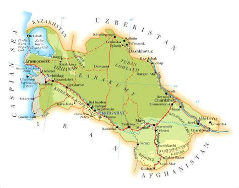 physical map of turkmenistan turkmenistan map turkmenistan mappery