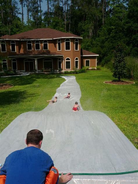 backyard slip n slide some friends built a massive slip n slide in their