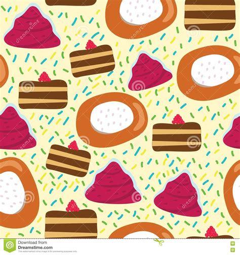 seamless pattern cake seamless cartoon pattern with cake stock vector image