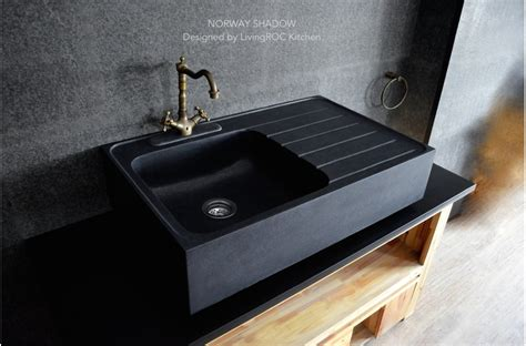 900mm Black Granite Stone Kitchen Sink Norway Shadow Granite Kitchen Sinks Uk