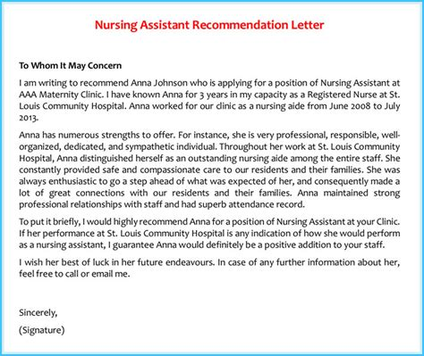 Reference Letter Nursing Assistant reference letter exles 20 sles formats writing