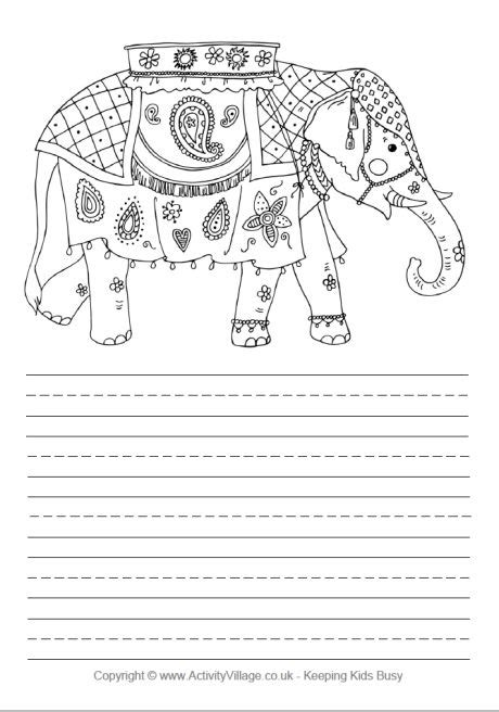 printable handwriting paper activity village indian elephant story paper