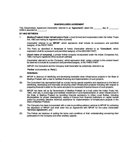 shareholder agreement templates 11 free word pdf