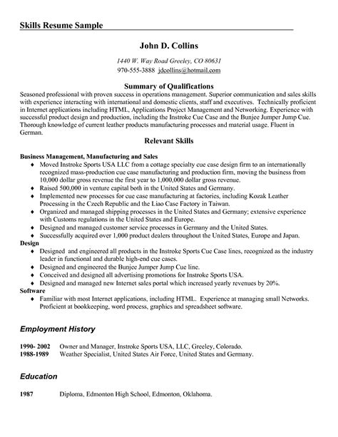 resume skills and abilities sles resume exles templates 10 list of resume skills