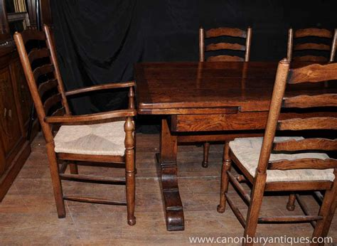 Farmhouse Dining Table Set Farmhouse Kitchen Dining Set Refectory Table Set Ladderback Chairs