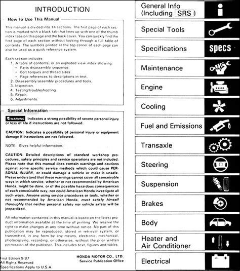book repair manual 1988 acura legend auto manual 1988 acura legend sedan repair shop manual original