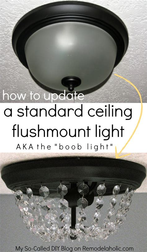 How To Make A Ceiling Light Fixture Remodelaholic Update A Dome Ceiling Light With Faceted Crystals