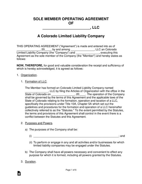 Colorado Single Member Llc Operating Agreement Form Eforms Free Fillable Forms Colorado Llc Operating Agreement Template